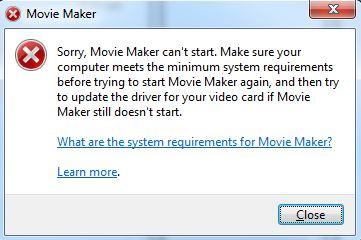 Não é Possível Iniciar o Movie Maker